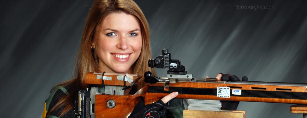 Holding gun Kirsten Joy Weiss words
