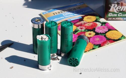 custom shotgun shells flower seed garden with a gun words