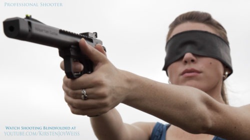 Kirsten Joy Weiss Shooting Blindfolded Pistol